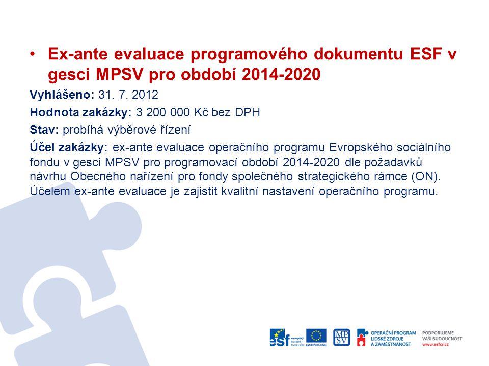 Ex-ante evaluace programového dokumentu ESF v gesci MPSV pro období 2014-2020 Vyhlášeno: 31. 7. 2012 Hodnota zakázky: 3 200 000 Kč bez DPH Stav: probí
