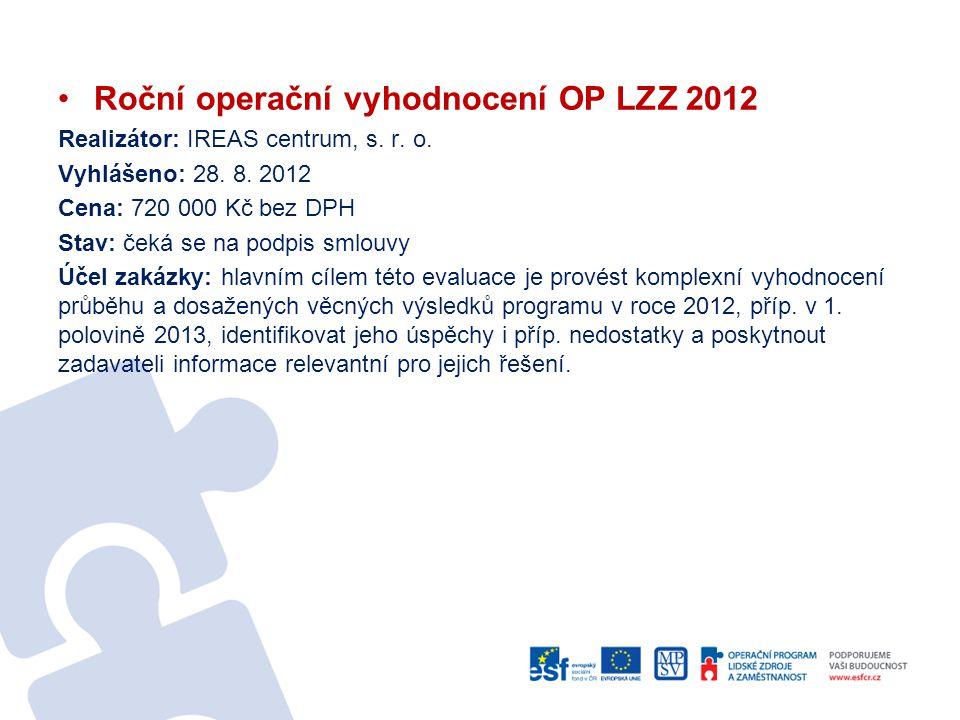 Roční operační vyhodnocení OP LZZ 2012 Realizátor: IREAS centrum, s. r. o. Vyhlášeno: 28. 8. 2012 Cena: 720 000 Kč bez DPH Stav: čeká se na podpis sml