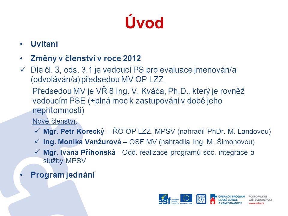 Úvod Uvítaní Změny v členství v roce 2012 Dle čl. 3, ods. 3.1 je vedoucí PS pro evaluace jmenován/a (odvoláván/a) předsedou MV OP LZZ. Předsedou MV je