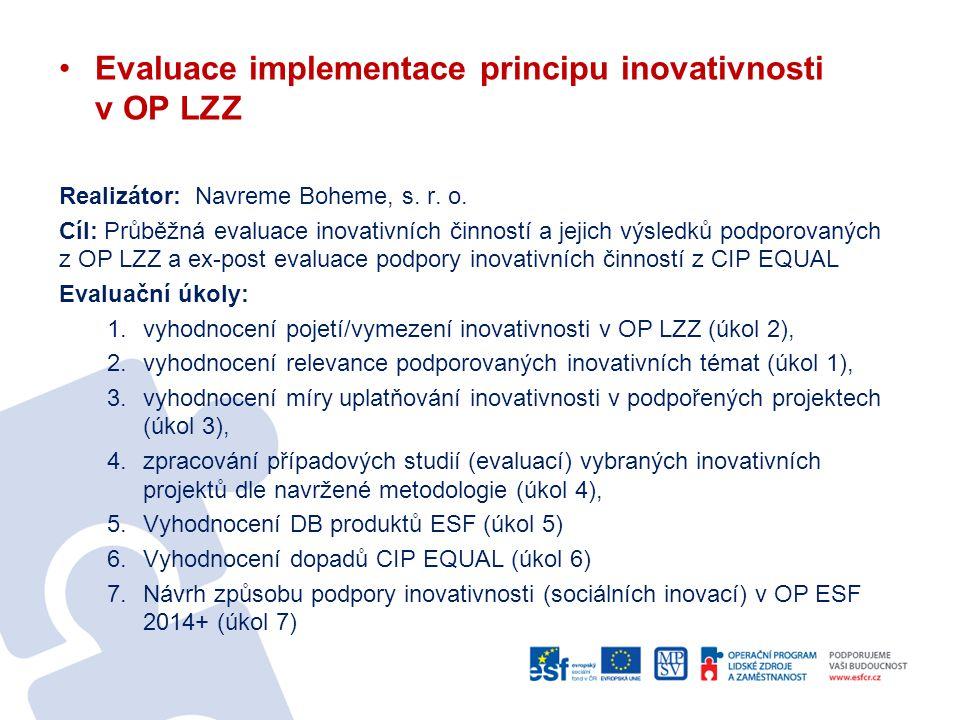 Evaluace implementace principu inovativnosti v OP LZZ Realizátor: Navreme Boheme, s. r. o. Cíl: Průběžná evaluace inovativních činností a jejich výsle
