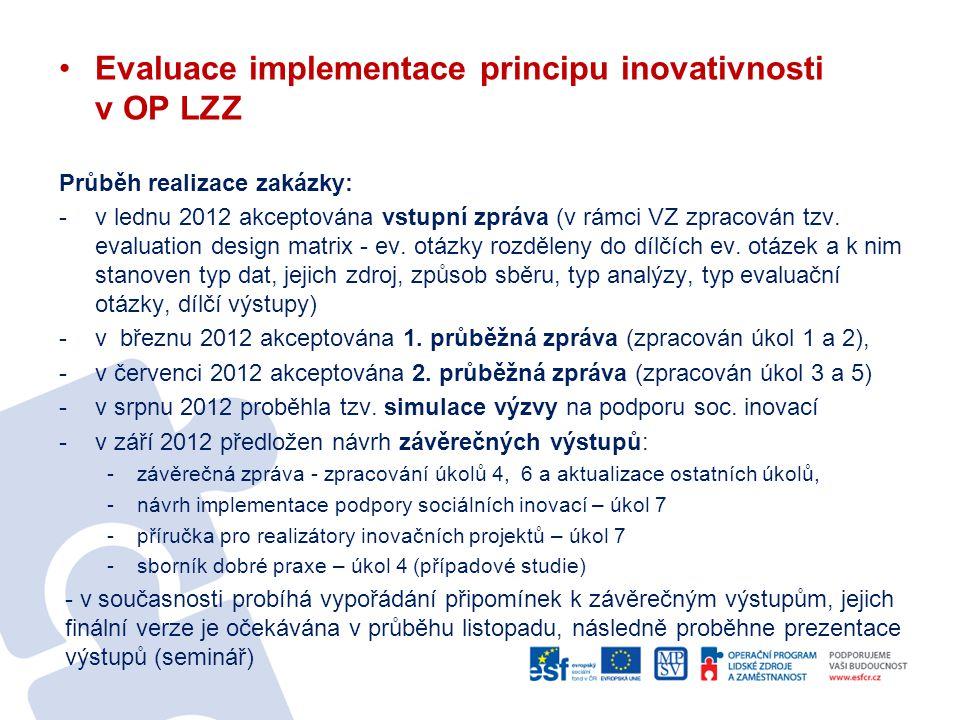 Evaluace implementace principu inovativnosti v OP LZZ Průběh realizace zakázky: -v lednu 2012 akceptována vstupní zpráva (v rámci VZ zpracován tzv. ev