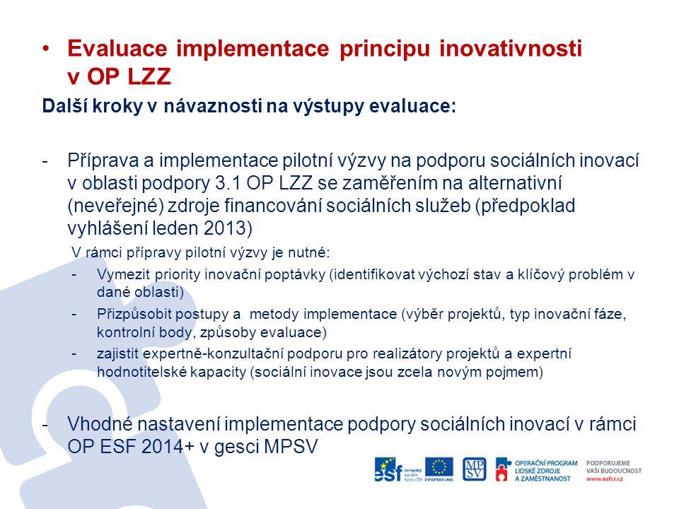 Evaluace implementace principu inovativnosti v OP LZZ Další kroky v návaznosti na výstupy evaluace: -Příprava a implementace pilotní výzvy na podporu