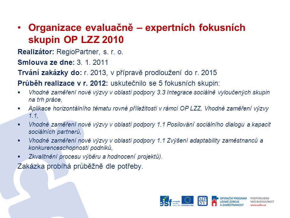 Organizace evaluačně – expertních fokusních skupin OP LZZ 2010 Realizátor: RegioPartner, s. r. o. Smlouva ze dne: 3. 1. 2011 Trvání zakázky do: r. 201