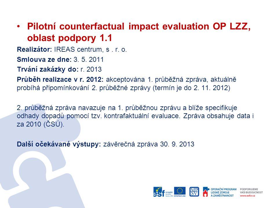 Pilotní counterfactual impact evaluation OP LZZ, oblast podpory 1.1 Realizátor: IREAS centrum, s. r. o. Smlouva ze dne: 3. 5. 2011 Trvání zakázky do: