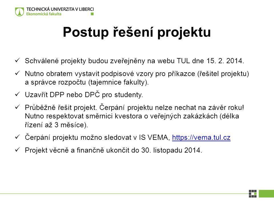 Postup řešení projektu Schválené projekty budou zveřejněny na webu TUL dne 15. 2. 2014. Nutno obratem vystavit podpisové vzory pro příkazce (řešitel p