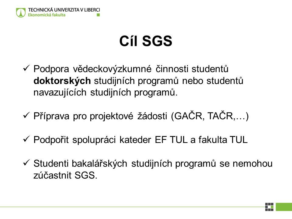 Cíl SGS Podpora vědeckovýzkumné činnosti studentů doktorských studijních programů nebo studentů navazujících studijních programů. Příprava pro projekt
