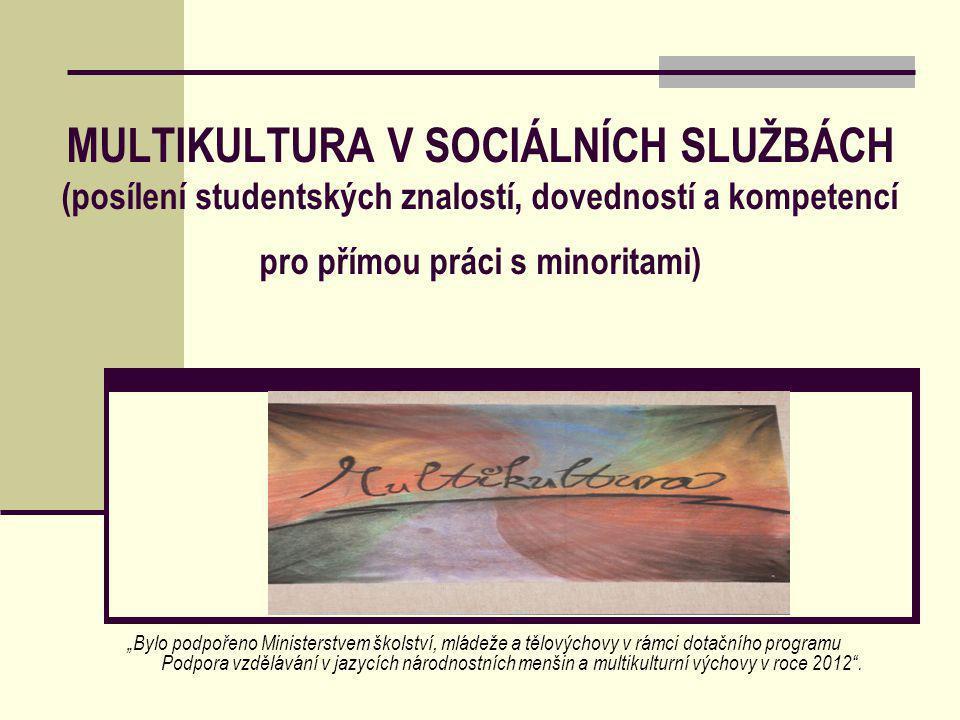 """MULTIKULTURA V SOCIÁLNÍCH SLUŽBÁCH (posílení studentských znalostí, dovedností a kompetencí pro přímou práci s minoritami) """"Bylo podpořeno Ministerstvem školství, mládeže a tělovýchovy v rámci dotačního programu Podpora vzdělávání v jazycích národnostních menšin a multikulturní výchovy v roce 2012 ."""