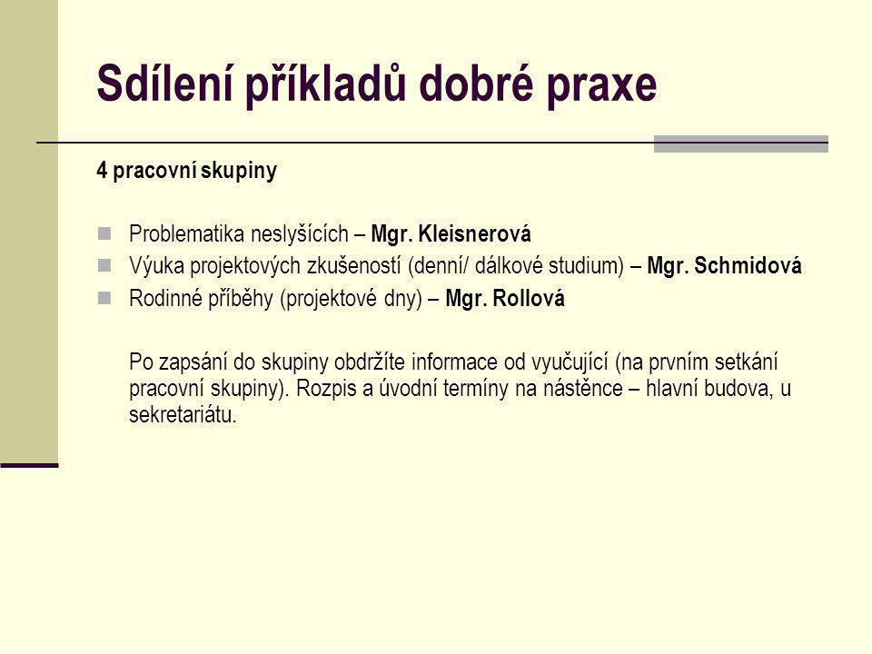 Sdílení příkladů dobré praxe 4 pracovní skupiny Problematika neslyšících – Mgr.