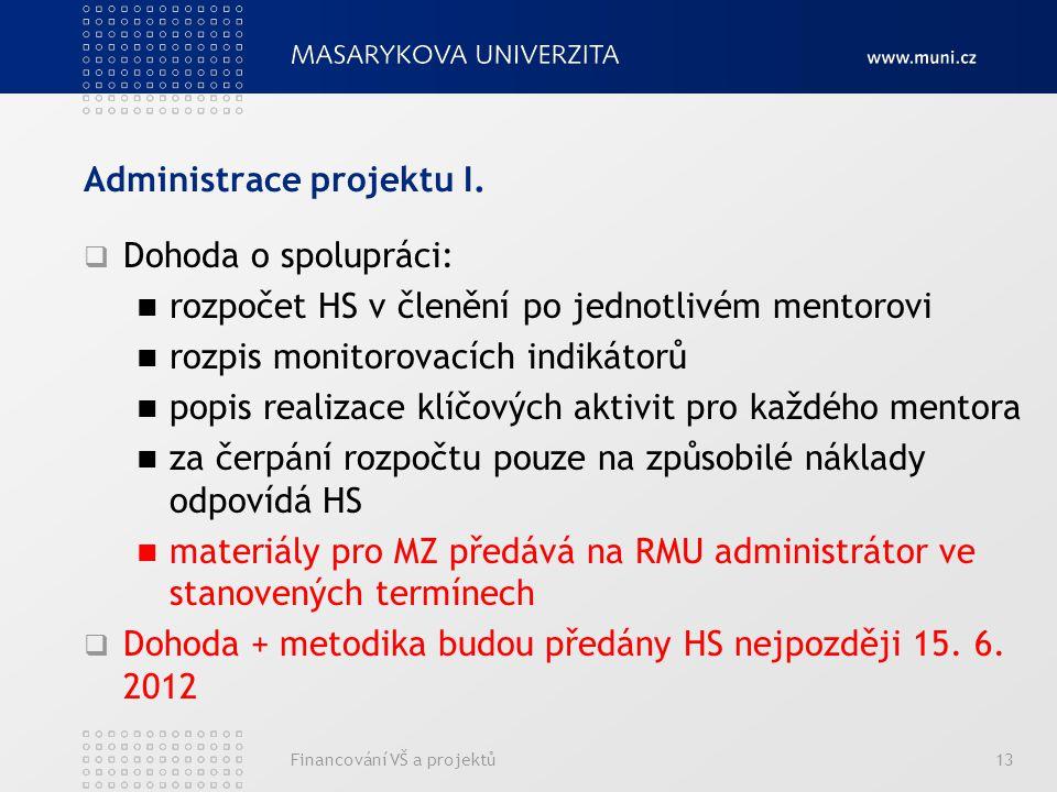 Administrace projektu I.  Dohoda o spolupráci: rozpočet HS v členění po jednotlivém mentorovi rozpis monitorovacích indikátorů popis realizace klíčov