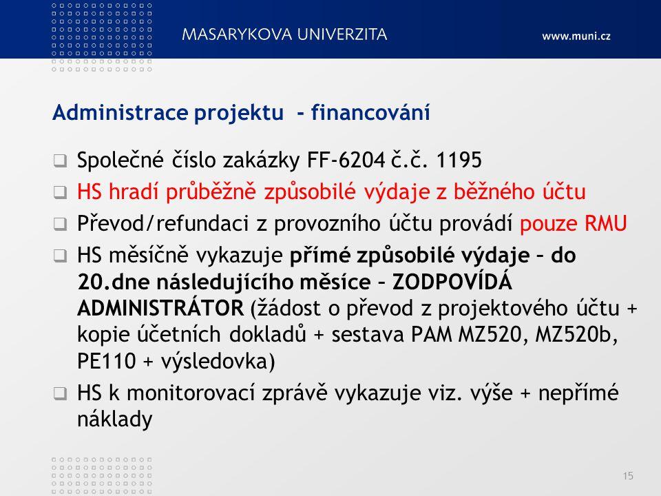 Administrace projektu - financování  Společné číslo zakázky FF-6204 č.č. 1195  HS hradí průběžně způsobilé výdaje z běžného účtu  Převod/refundaci