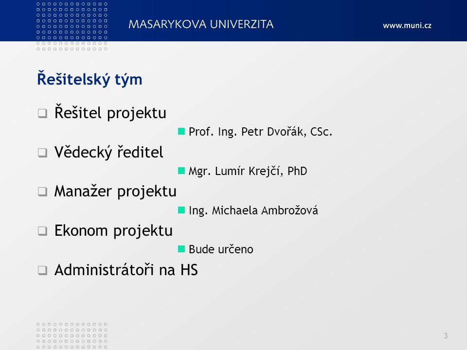 Řešitelský tým  Řešitel projektu Prof.Ing. Petr Dvořák, CSc.