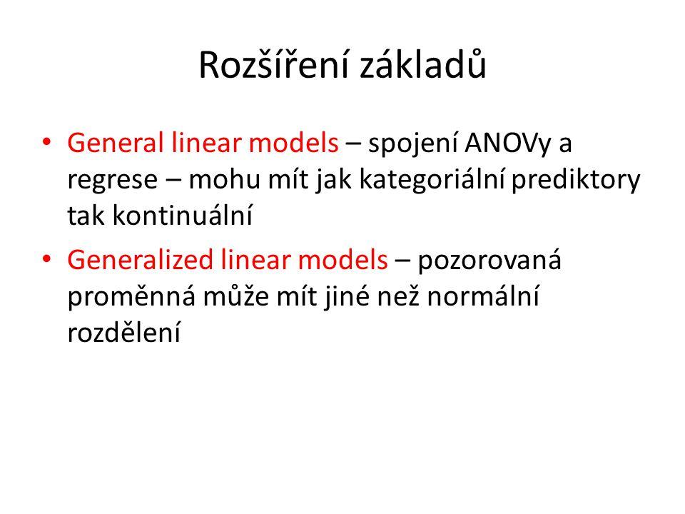 Rozšíření základů General linear models – spojení ANOVy a regrese – mohu mít jak kategoriální prediktory tak kontinuální Generalized linear models – pozorovaná proměnná může mít jiné než normální rozdělení