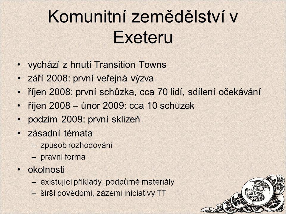 Komunitní zemědělství v Exeteru vychází z hnutí Transition Towns září 2008: první veřejná výzva říjen 2008: první schůzka, cca 70 lidí, sdílení očekávání říjen 2008 – únor 2009: cca 10 schůzek podzim 2009: první sklizeň zásadní témata –způsob rozhodování –právní forma okolnosti –existující příklady, podpůrné materiály –širší povědomí, zázemí iniciativy TT