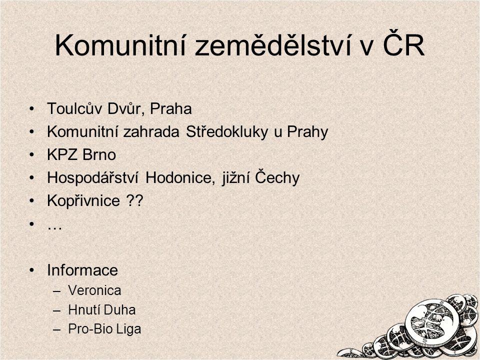 Komunitní zemědělství v ČR Toulcův Dvůr, Praha Komunitní zahrada Středokluky u Prahy KPZ Brno Hospodářství Hodonice, jižní Čechy Kopřivnice ?.