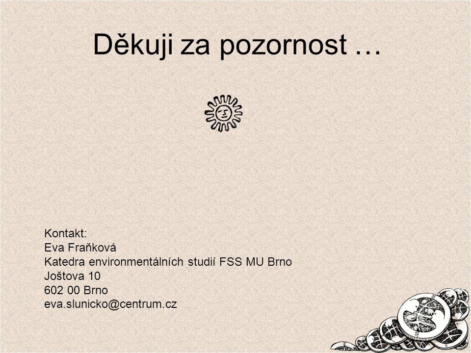 Děkuji za pozornost … Kontakt: Eva Fraňková Katedra environmentálních studií FSS MU Brno Joštova 10 602 00 Brno eva.slunicko@centrum.cz