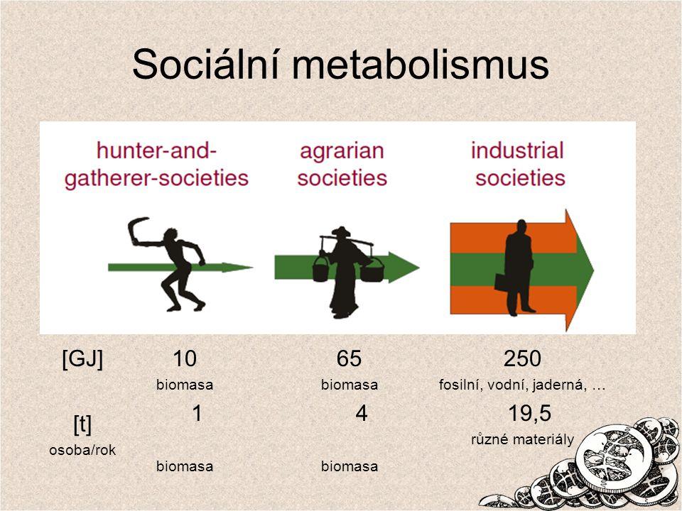 Sociální metabolismus 10 biomasa 1 biomasa 65 biomasa 4 biomasa 250 fosilní, vodní, jaderná, … 19,5 různé materiály [GJ] [t] osoba/rok