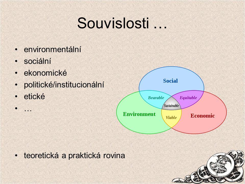 Souvislosti … environmentální sociální ekonomické politické/institucionální etické … teoretická a praktická rovina