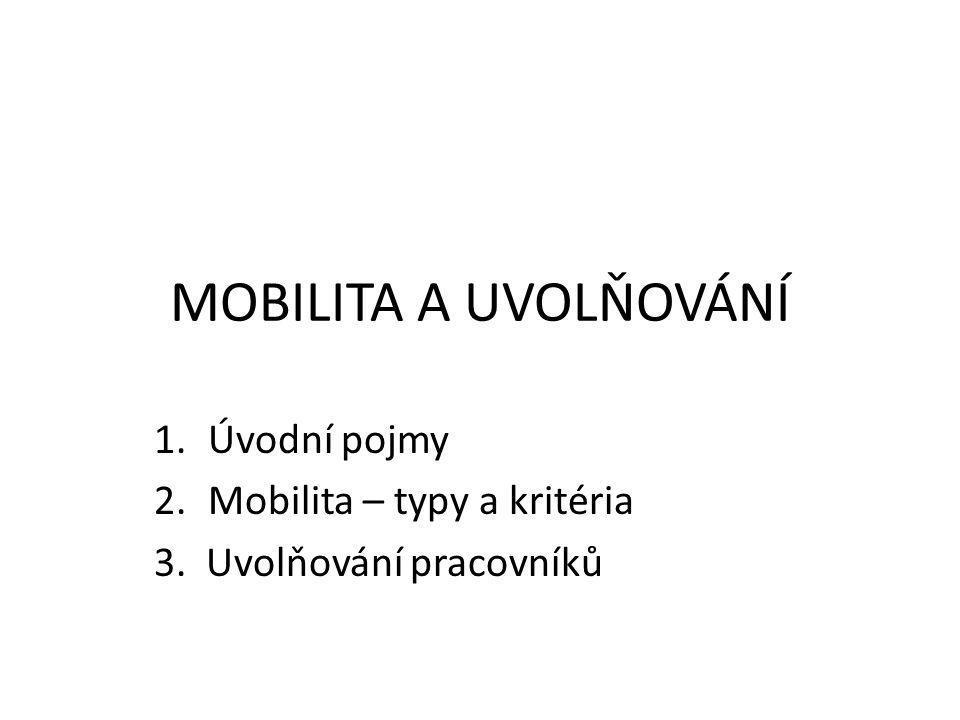 MOBILITA A UVOLŇOVÁNÍ 1.Úvodní pojmy 2.Mobilita – typy a kritéria 3. Uvolňování pracovníků