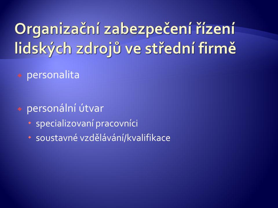  personalita  personální útvar  specializovaní pracovníci  soustavné vzdělávání/kvalifikace