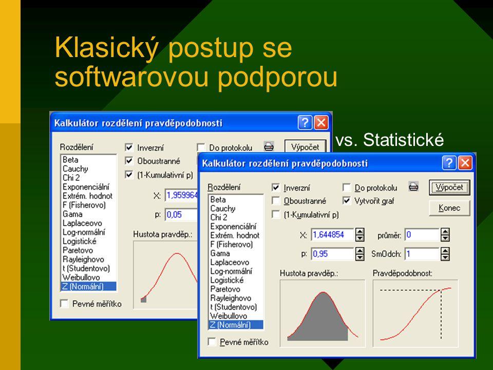 """Klasický postup se softwarovou podporou """" Pravděpodobnostní kalkulátory"""" vs. Statistické tabulky: –ztráta formální práce s náhodnými veličinami, –upnu"""
