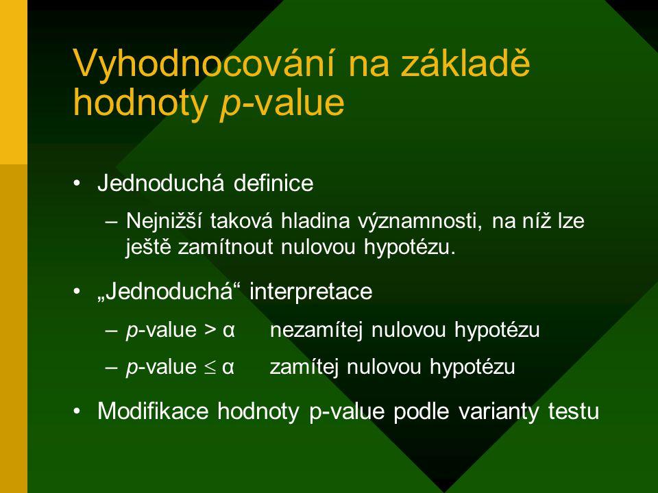 """Vyhodnocování na základě hodnoty p ‑ value Jednoduchá definice –Nejnižší taková hladina významnosti, na níž lze ještě zamítnout nulovou hypotézu. """"Jed"""