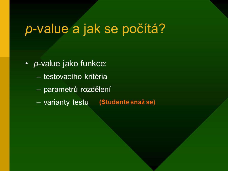 p-value a jak se počítá? p-value jako funkce: –testovacího kritéria –parametrů rozdělení –varianty testu (Studente snaž se)