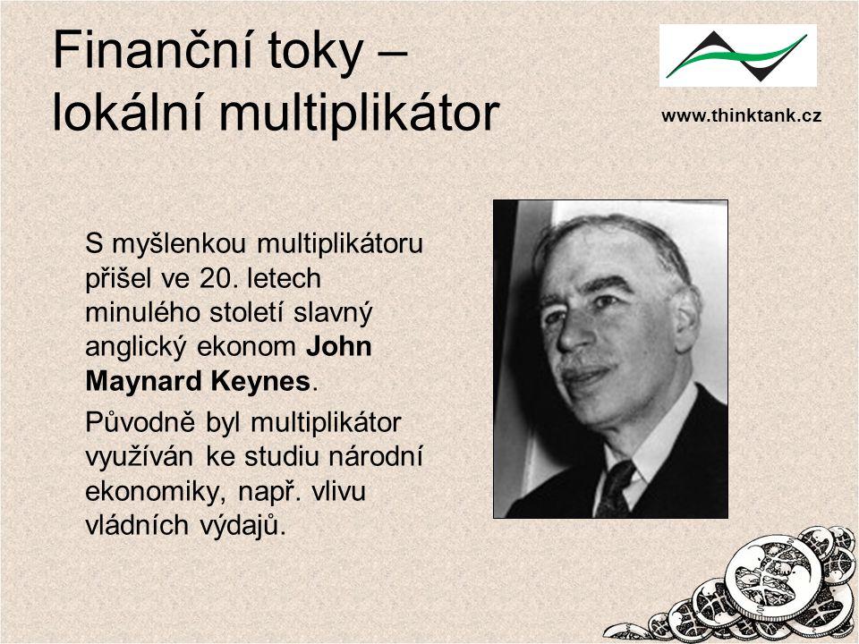 www.thinktank.cz Finanční toky – lokální multiplikátor S myšlenkou multiplikátoru přišel ve 20. letech minulého století slavný anglický ekonom John Ma