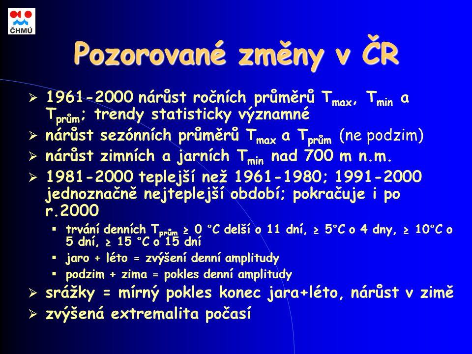 Pozorované změny v ČR  1961-2000 nárůst ročních průměrů T max, T min a T prům ; trendy statisticky významné  nárůst sezónních průměrů T max a T prům (ne podzim)  nárůst zimních a jarních T min nad 700 m n.m.