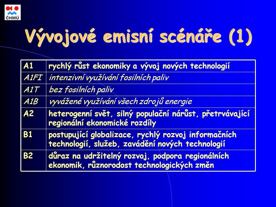 Vývojové emisní scénáře (1) postupující globalizace, rychlý rozvoj informačních technologií, služeb, zavádění nových technologií B1 důraz na udržitelný rozvoj, podpora regionálních ekonomik, různorodost technologických změn B2 heterogenní svět, silný populační nárůst, přetrvávající regionální ekonomické rozdíly A2 vyvážené využívání všech zdrojů energieA1B bez fosilních palivA1T intenzivní využívání fosilních palivA1FI rychlý růst ekonomiky a vývoj nových technologiíA1