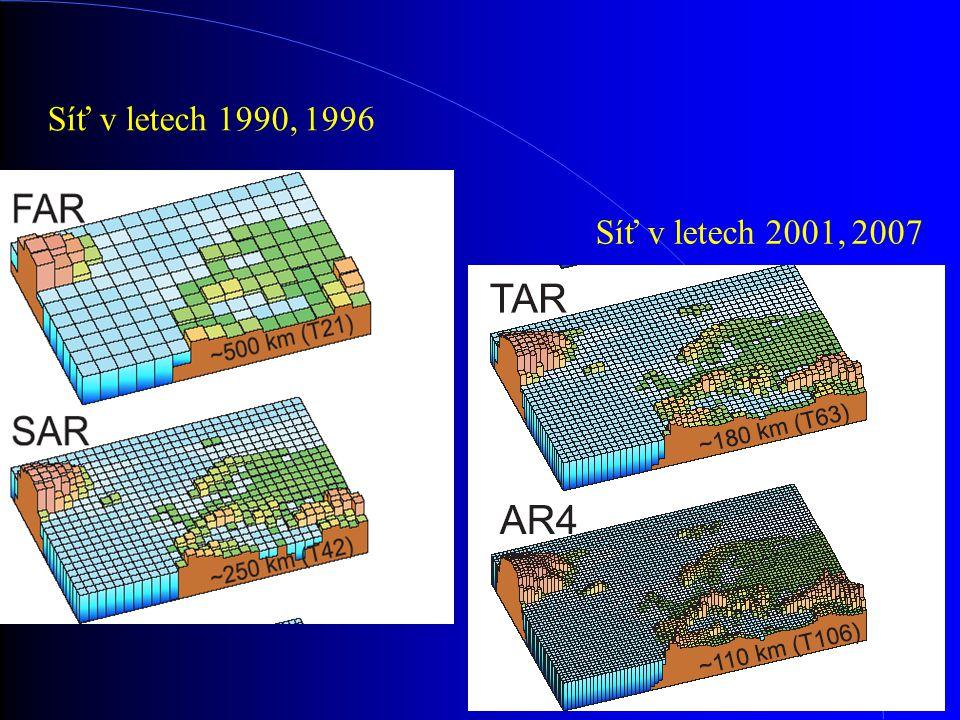 Síť v letech 1990, 1996 Síť v letech 2001, 2007