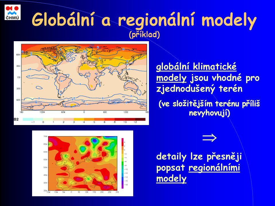 Globální a regionální modely (příklad) globální klimatické modely jsou vhodné pro zjednodušený terén (ve složitějším terénu příliš nevyhovují)  detai