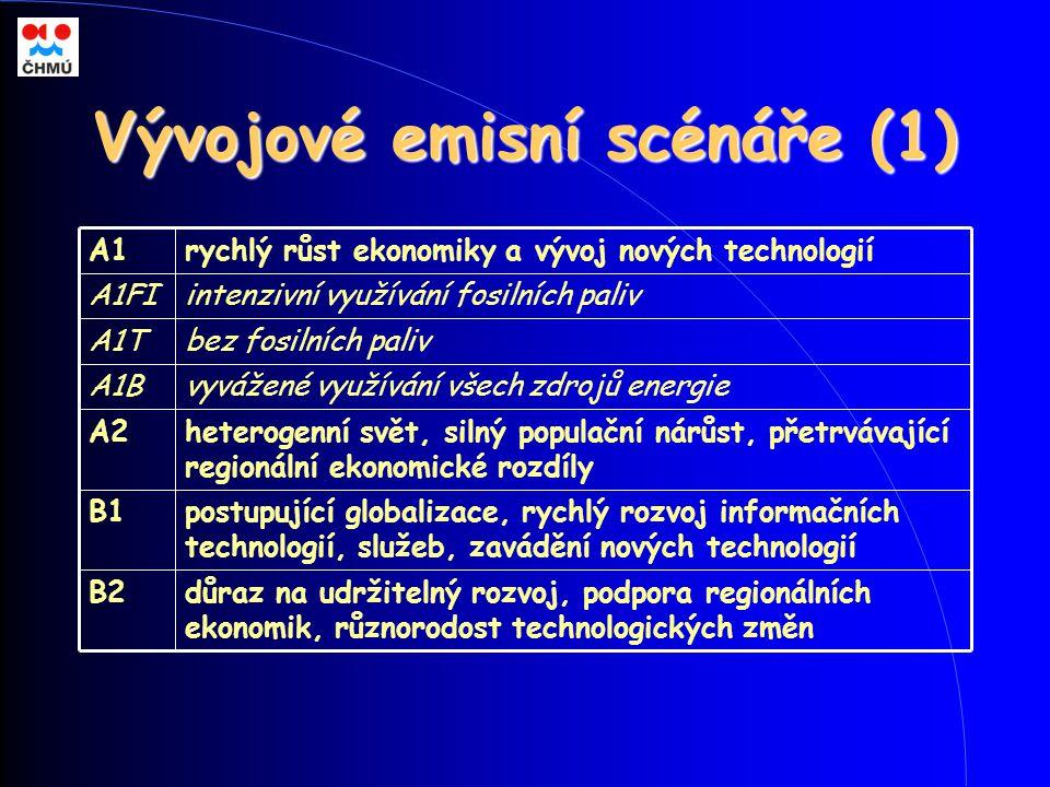 Vývojové emisní scénáře (1) postupující globalizace, rychlý rozvoj informačních technologií, služeb, zavádění nových technologií B1 důraz na udržiteln