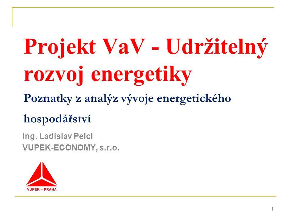1 Projekt VaV - Udržitelný rozvoj energetiky Poznatky z analýz vývoje energetického hospodářství Ing.