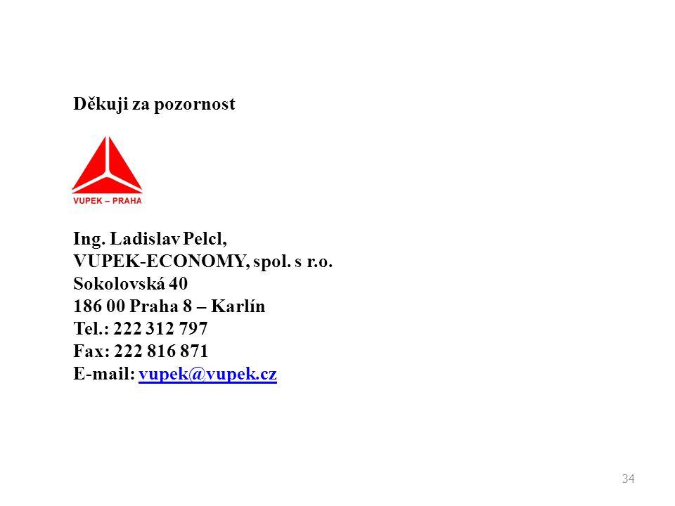 34 Děkuji za pozornost Ing. Ladislav Pelcl, VUPEK-ECONOMY, spol. s r.o. Sokolovská 40 186 00 Praha 8 – Karlín Tel.: 222 312 797 Fax: 222 816 871 E-mai