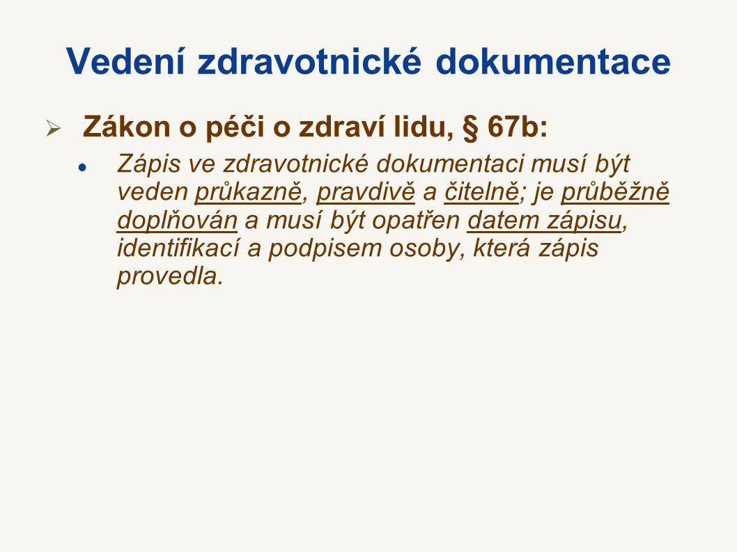 Vedení zdravotnické dokumentace  Zákon o péči o zdraví lidu, § 67b: Zápis ve zdravotnické dokumentaci musí být veden průkazně, pravdivě a čitelně; je