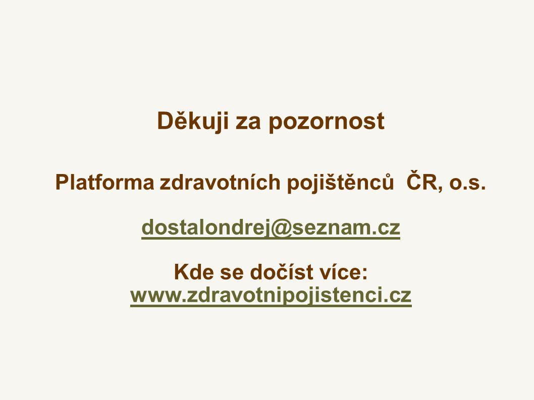 Platforma zdravotních pojištěnců ČR, o.s. dostalondrej@seznam.cz Kde se dočíst více: www.zdravotnipojistenci.cz Děkuji za pozornost