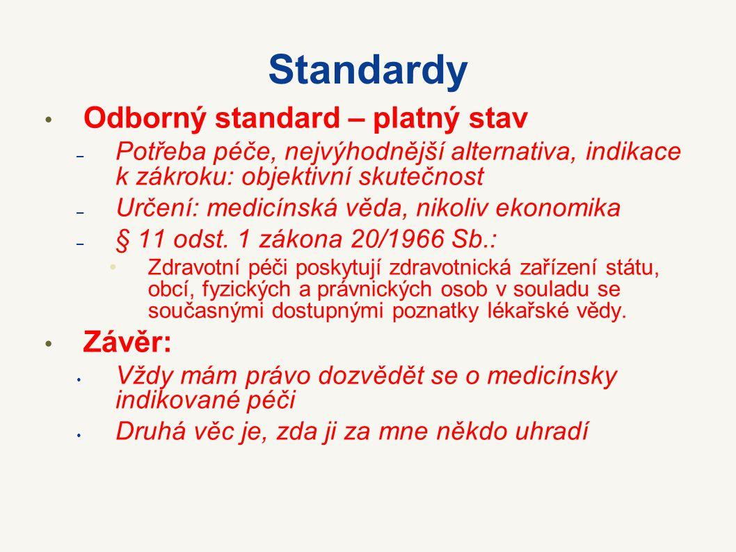Standardy Úhradový standard – Listina: Občané mají na základě veřejného pojištění právo na bezplatnou zdravotní péči a na zdravotní pomůcky za podmínek, které stanoví zákon.