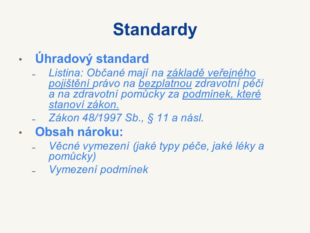 Standardy Úhradový standard – Listina: Občané mají na základě veřejného pojištění právo na bezplatnou zdravotní péči a na zdravotní pomůcky za podmíne