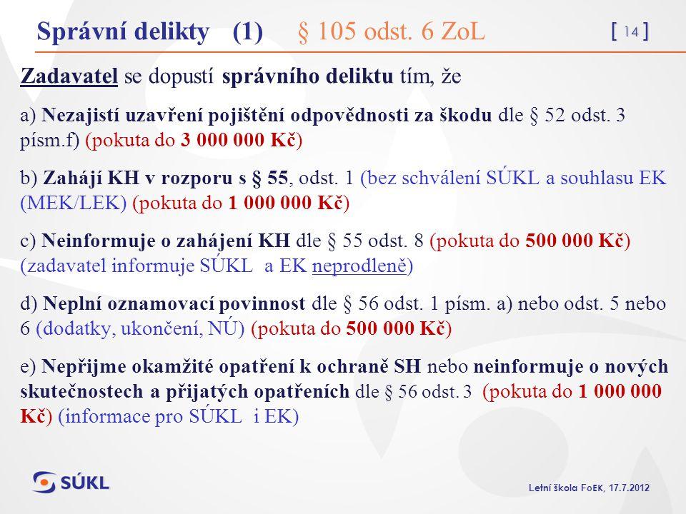 [ 14 ] L etní škola Fo EK, 17.7.2012 Správní delikty (1) § 105 odst. 6 ZoL Zadavatel se dopustí správního deliktu tím, že a) Nezajistí uzavření pojišt