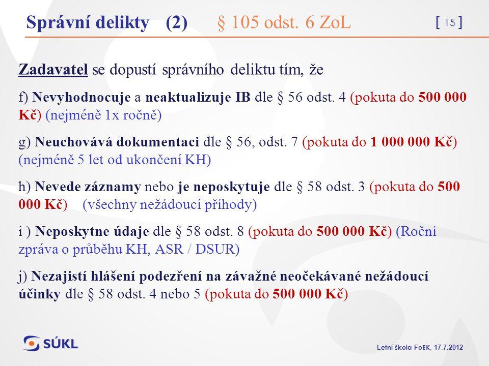 [ 15 ] L etní škola Fo EK, 17.7.2012 Správní delikty (2) § 105 odst. 6 ZoL Zadavatel se dopustí správního deliktu tím, že f) Nevyhodnocuje a neaktuali