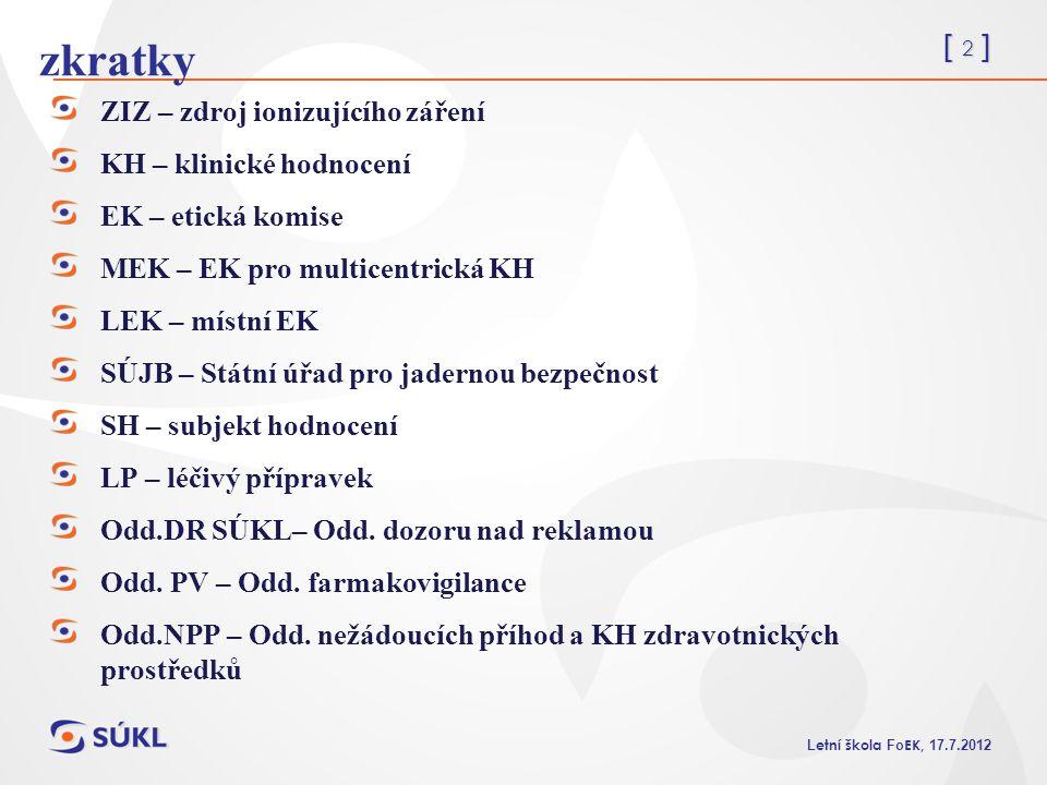 [ 2 ] L etní škola Fo EK, 17.7.2012 zkratky ZIZ – zdroj ionizujícího záření KH – klinické hodnocení EK – etická komise MEK – EK pro multicentrická KH