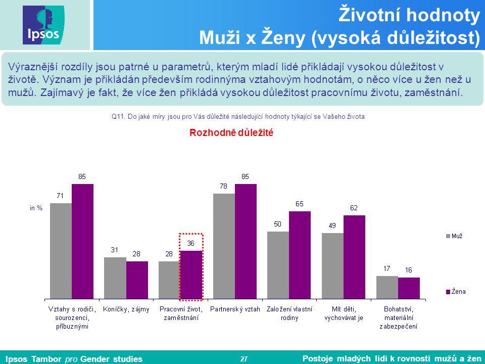 Ipsos Tambor pro Gender studies Postoje mladých lidí k rovnosti mužů a žen 27 Životní hodnoty Muži x Ženy (vysoká důležitost) Výraznější rozdíly jsou patrné u parametrů, kterým mladí lidé přikládají vysokou důležitost v životě.