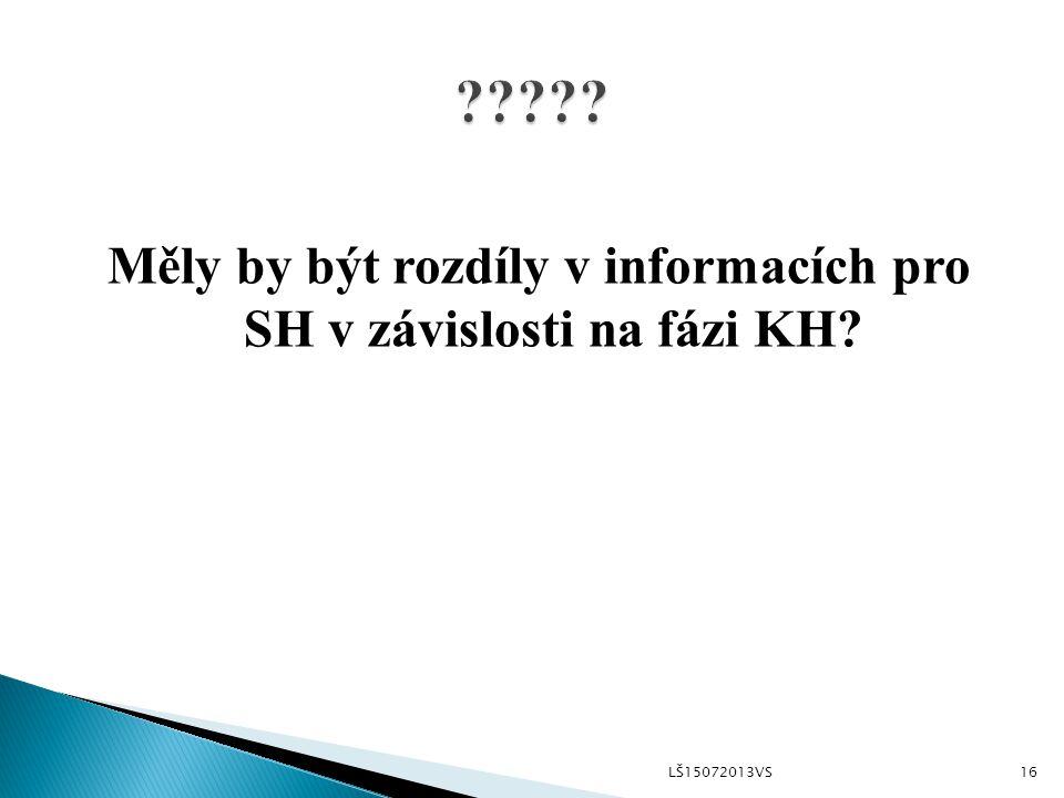 Měly by být rozdíly v informacích pro SH v závislosti na fázi KH LŠ15072013VS16