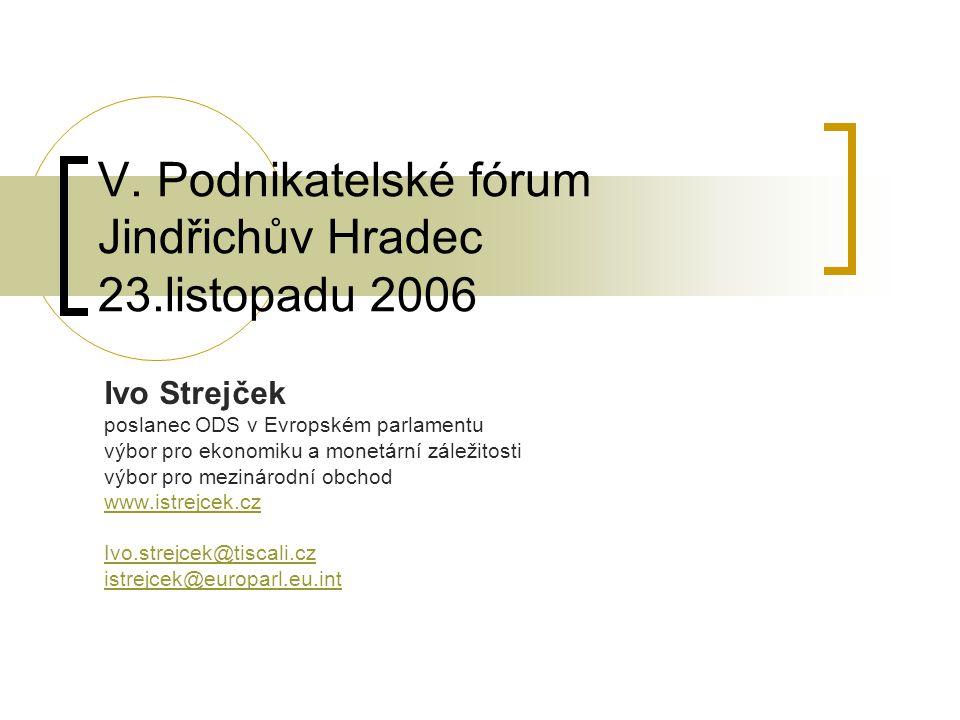V. Podnikatelské fórum Jindřichův Hradec 23.listopadu 2006 Ivo Strejček poslanec ODS v Evropském parlamentu výbor pro ekonomiku a monetární záležitost