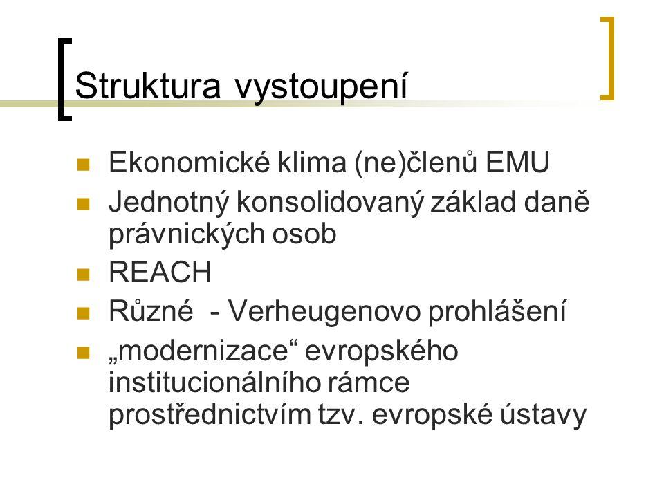 """Struktura vystoupení Ekonomické klima (ne)členů EMU Jednotný konsolidovaný základ daně právnických osob REACH Různé - Verheugenovo prohlášení """"modernizace evropského institucionálního rámce prostřednictvím tzv."""