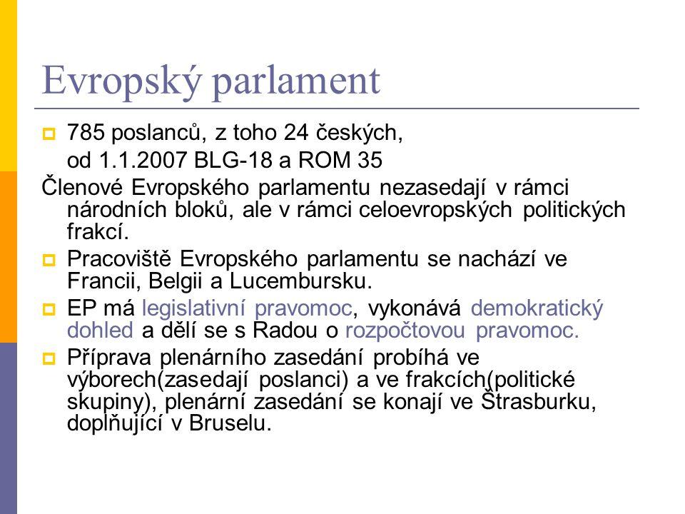 Evropský parlament  785 poslanců, z toho 24 českých, od 1.1.2007 BLG-18 a ROM 35 Členové Evropského parlamentu nezasedají v rámci národních bloků, al