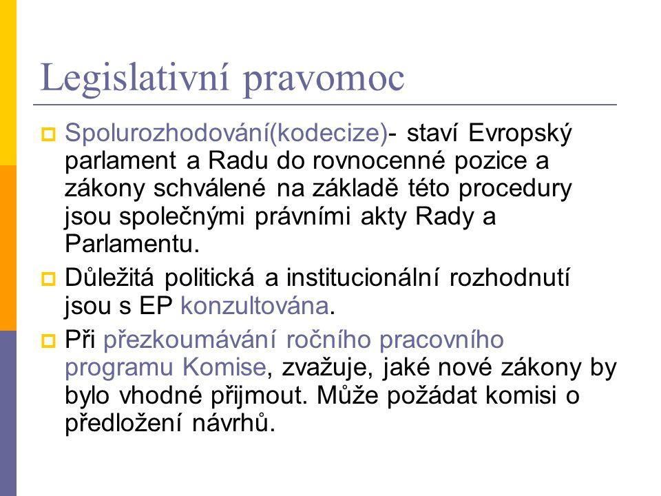 Legislativní pravomoc  Spolurozhodování(kodecize)- staví Evropský parlament a Radu do rovnocenné pozice a zákony schválené na základě této procedury