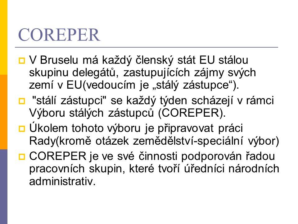 """COREPER  V Bruselu má každý členský stát EU stálou skupinu delegátů, zastupujících zájmy svých zemí v EU(vedoucím je """"stálý zástupce""""). """