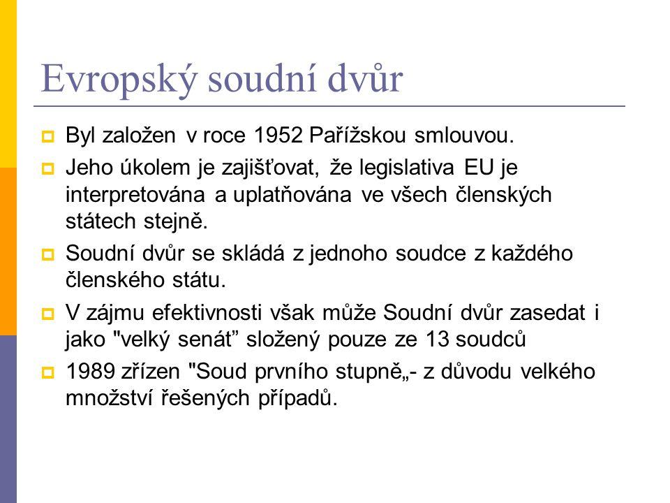 Evropský soudní dvůr  Byl založen v roce 1952 Pařížskou smlouvou.  Jeho úkolem je zajišťovat, že legislativa EU je interpretována a uplatňována ve v