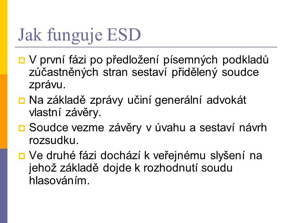 Jak funguje ESD  V první fázi po předložení písemných podkladů zúčastněných stran sestaví přidělený soudce zprávu.  Na základě zprávy učiní generáln